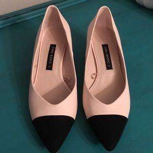 Zara Basic pink black chunk heels